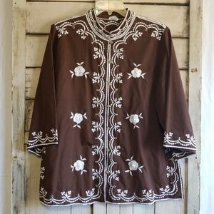 Vintage 60s Brown Chuchi Button Up Blouse xlarge